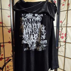 Japanese goth Offshoulder velvet cowl oversize OS